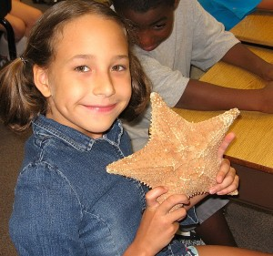 Student with seastar